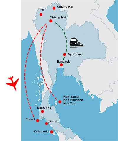 parcours-itineraire-thailande-circuit-carte-3 semaines-Circuit thailande en famille